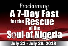 Proclaiming a 7 Day Fast for the Rescue of The Soul of Nigeria