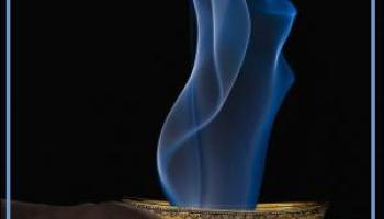 Incense bowl with smoke