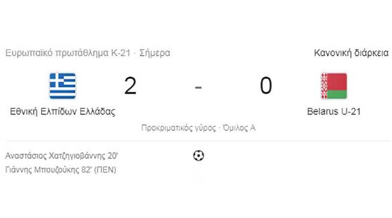 Ελλάδα – Λευκορωσία 2-0 με γκολ των Χατζηγιοβάνη και Μπουζούκη