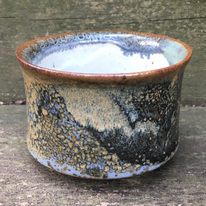 Flared tea bowl (Shaner white with shino over Cheryl's blue green) *n/a