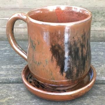 Mug and saucer (shino over iron red with wood ash) *n/a