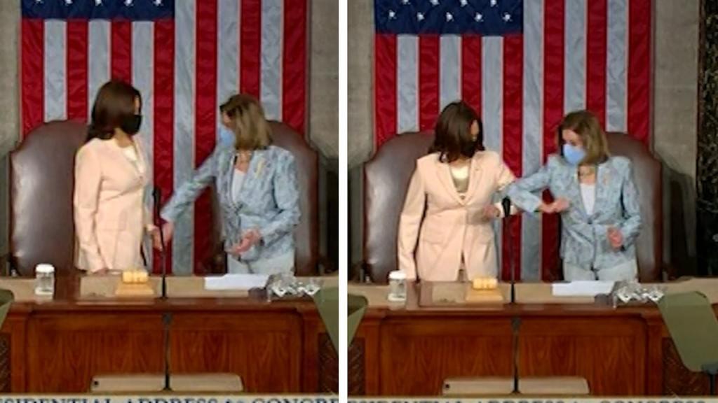VP Kamala Harris, Speaker Nancy Pelosi Elbow Bump In Historic Moment