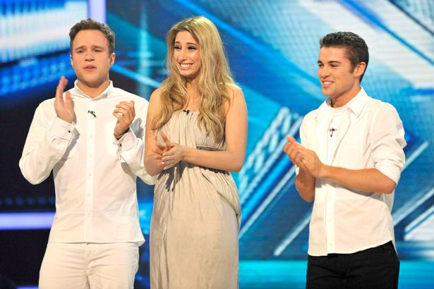 The X Factor Joe McElderry, Stacey Solomon and Olly Murs.