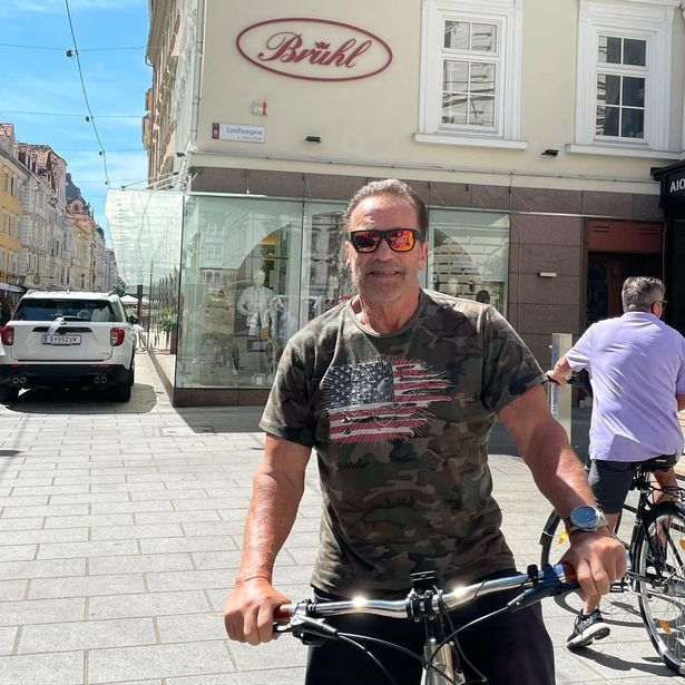 Arnold Schwarzenegger shared a snap of himself in a t-shirt with a US flag on it