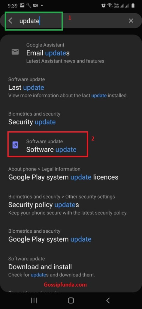 """search for """"update"""""""