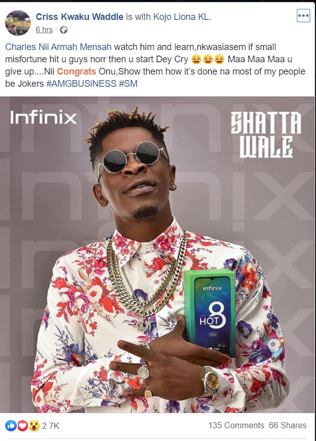 """""""Watch Shatta Wale And Learn Him"""" - Criss Waddle"""