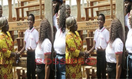 DJ Switch Donates 50 Desks To A.M.E. Zion JHS In Cape Coast