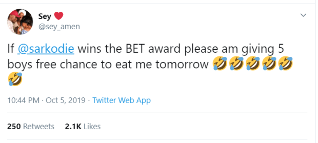 Twitter User Hot After She Promised To Allow 5 Boys Chop Her For Free If Sarkodie Wins BET Award (screenshot) 2