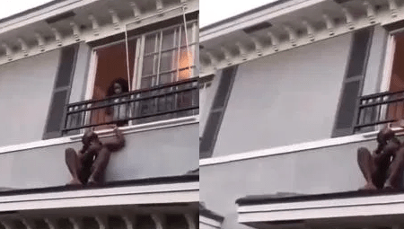 man Hides On The Roof After Hubby Of The Lady He Was Chopping Came Home