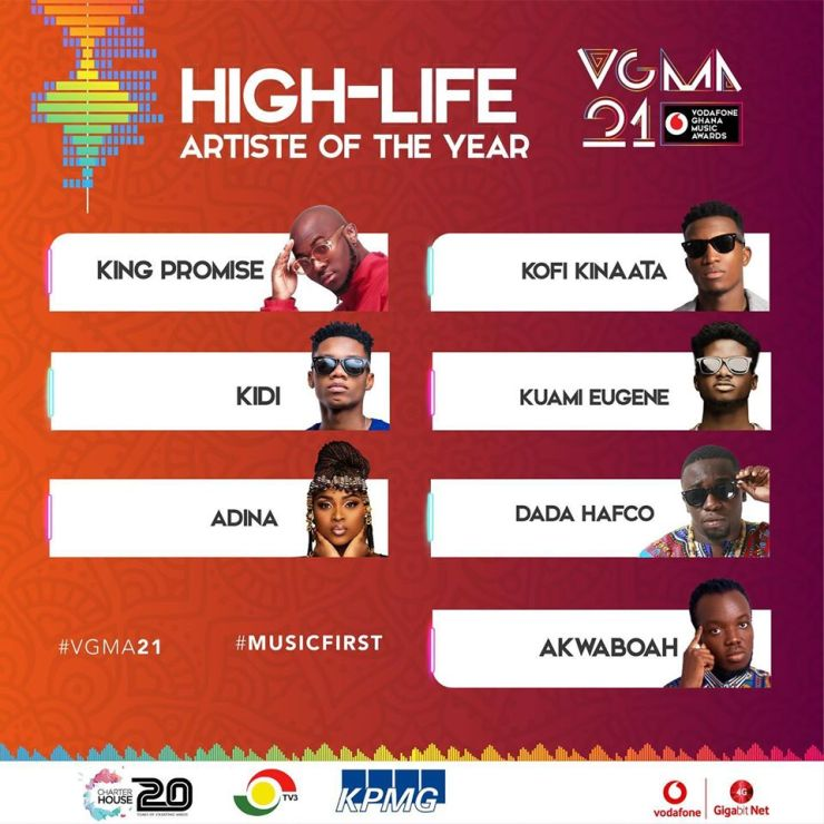 VGMA 2020 Nominees: Highlife Artiste of the Year