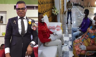 Angel Obinim wears gloves and mask for consultation over fear of coronavirus