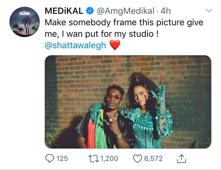 Medikal celebrates Shatta Wale, hints on hanging his trending picture with Beyonce inside his studio (screenshot) 1