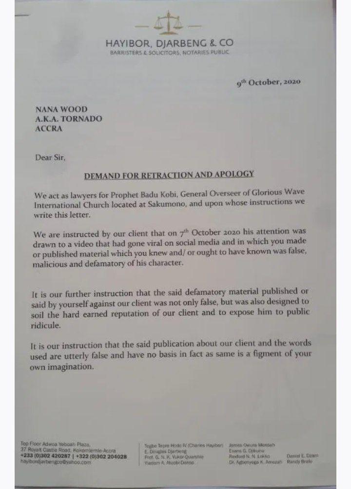 Prophet Badu Kobi threatens to sue Nana Tornado