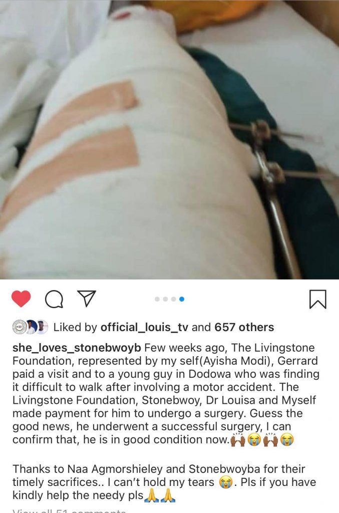 Stonebwoy paid hospital bills for Okada accident victim (screenshot) 1