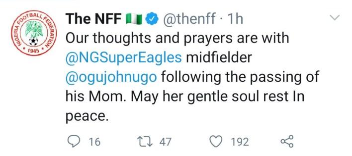Super Eagles Midfielder, John Ogu loses mum