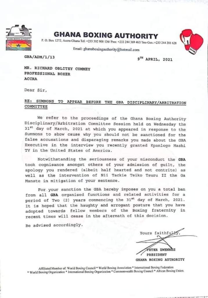 Ghana Boxing Authority Bans Richard Commey For 2 Years 2