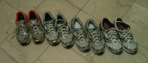 My Mizuno Running Shoes (in a row)