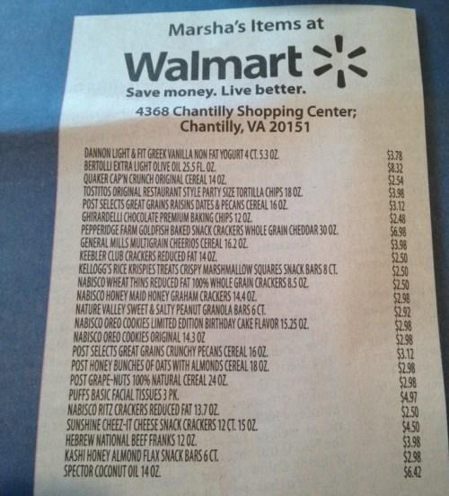 Walmart Grocery Receipt