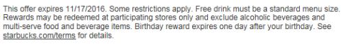 Starbucks Birthday Reward Expiration