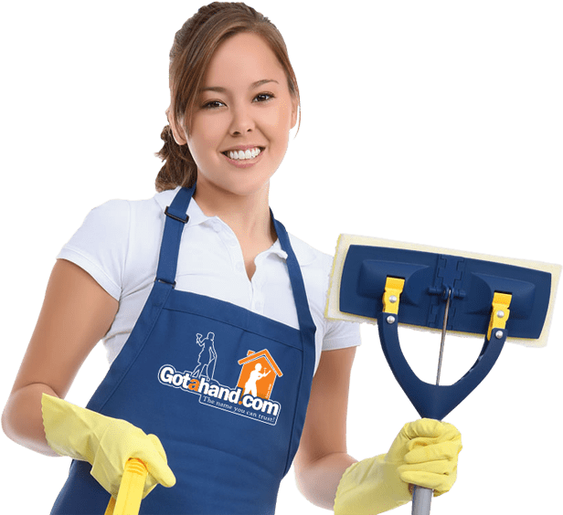 House cleaner with a mop and yellow gloves cleaning services from Got a Hand