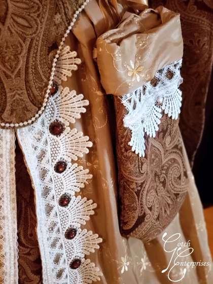 Bag and detail of custom renaissance fair gown
