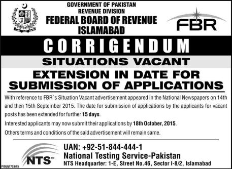 FBR Jobs 2016 NTS Test Application Form