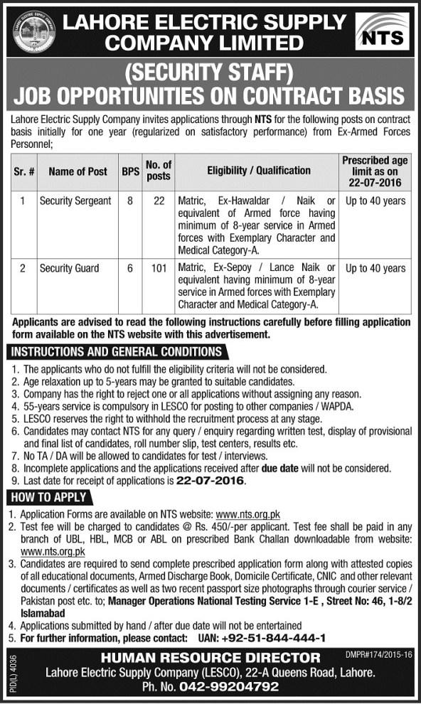 Lahore LESCO Security Staff Guards Jobs 2021