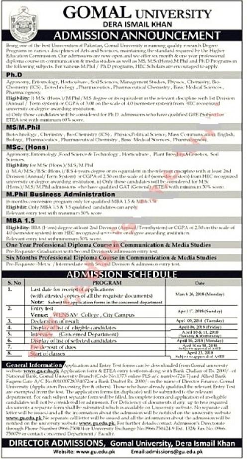 Gomal university Admission 2021