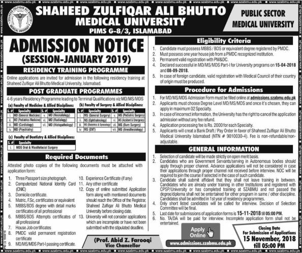 SZABMU PIMS Islamabad Admission 2021 Apply Online Test Preparation