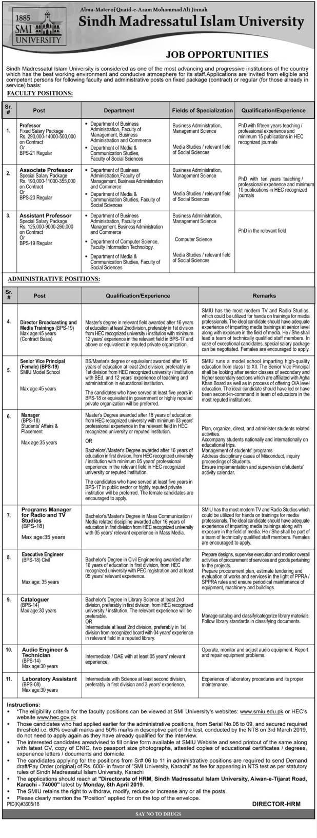 Sindh Madressatul Islam University Karachi Jobs 2021 NTS Application Form Eligibility Criteria