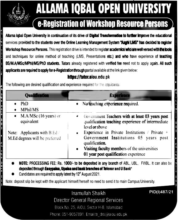 Allama Iqbal Open University Islamabad AIOU Jobs 2021 Application Form Eligibility Criteria