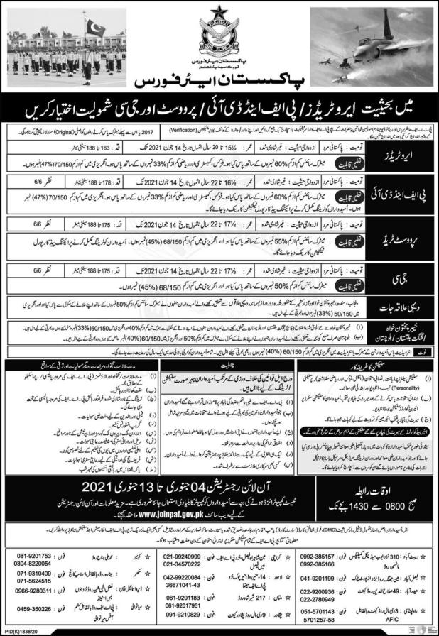 Join PAF Jobs 2021 As Civilian Apply Online Registration