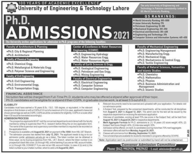 UET Lahore PhD Admission 2021 Registration Form Entry Test Date
