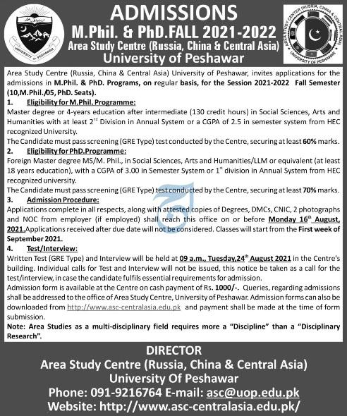 University of Peshawar UOP Admissions 2021 Prospectus Application Form