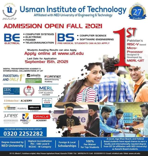 UIT Karachi Entry Test 2021 Schedule Dates Time Registration Forms