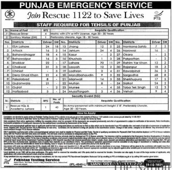 Punjab Rescue 1122 Driver PTS Jobs 2021 Application Forms Roll No Slips