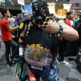 An awesome (nerfed) Roadhog from Overwatch. He had to do quite a lot of modification to his cosplay just to get inside.