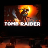 The big presentation screen with the Shadow of the Tomb Raider key art.