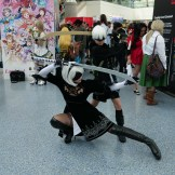 2B and 9S from NieR: Automata at Anime Expo 2018.