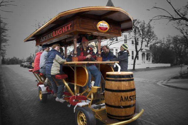 Maz captains the beer bike!