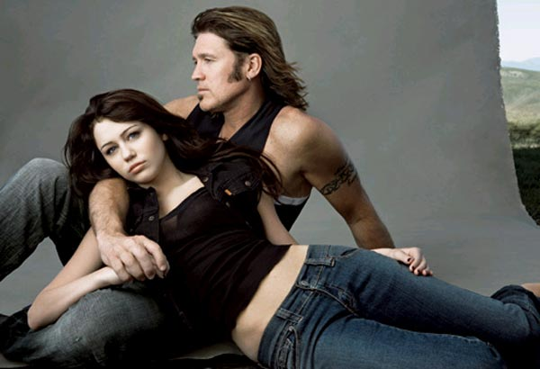 more disturbing? The other photo in the scandal - Miley and her father Billy Ray by Annie Liebovitz