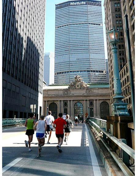 the runners take over the ramp by Grand Central