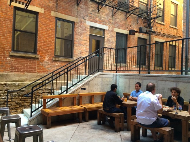 Patio seating.