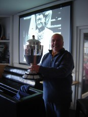 3. Eddie with the Monaco Grand Prix Trophy with recipient in background
