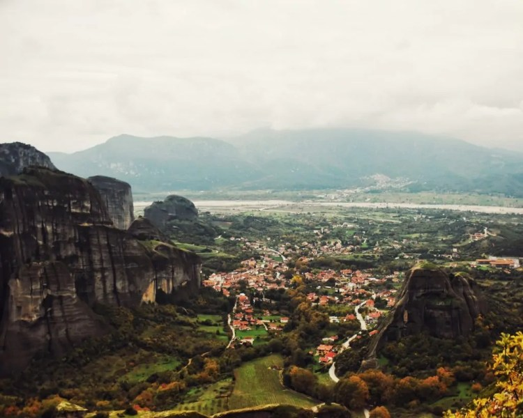 View of Kalabaka from the Great Meteoron Monastery