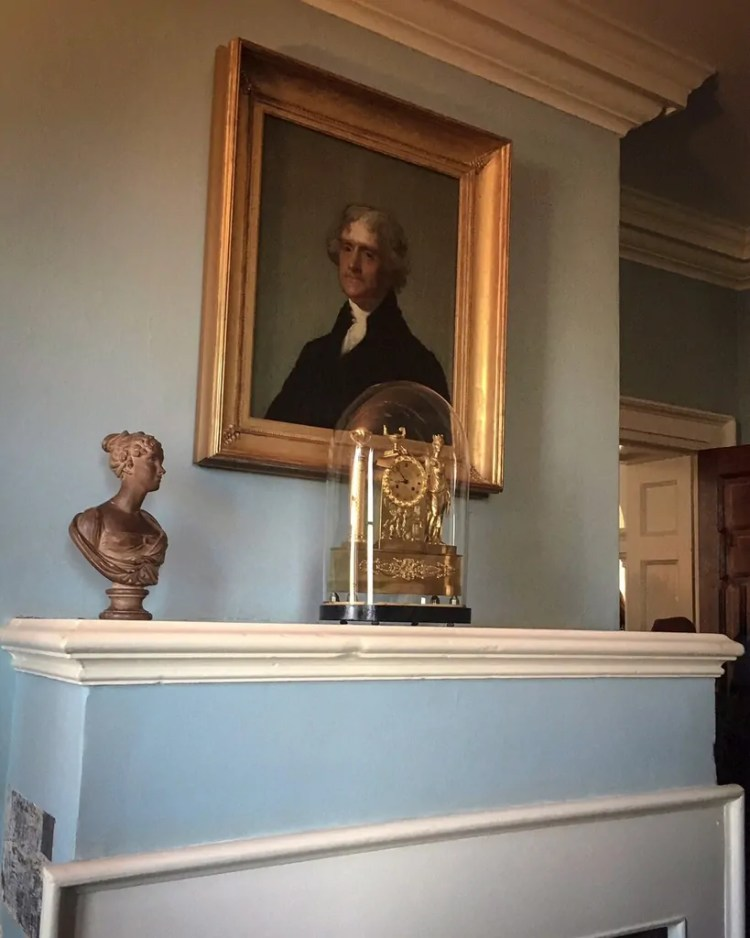 Jefferson's portrait by Gilbert Stuart displayed in one of the private rooms
