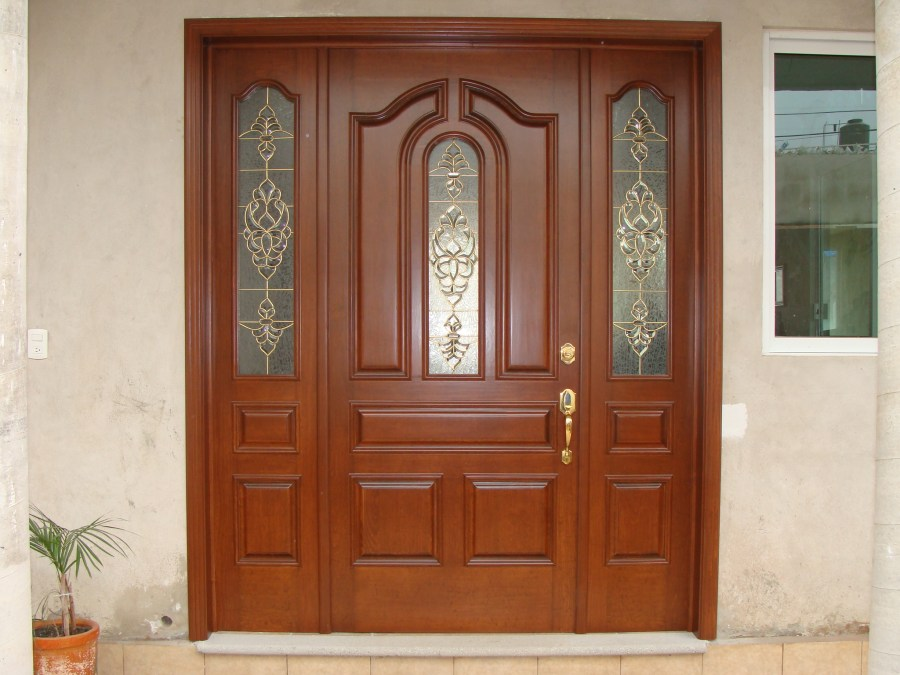 Puertas De Madera Para Entrada Principal Con Vitral Novocom Top