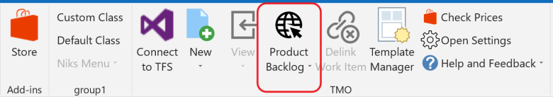 Click the product backlog button to navigate