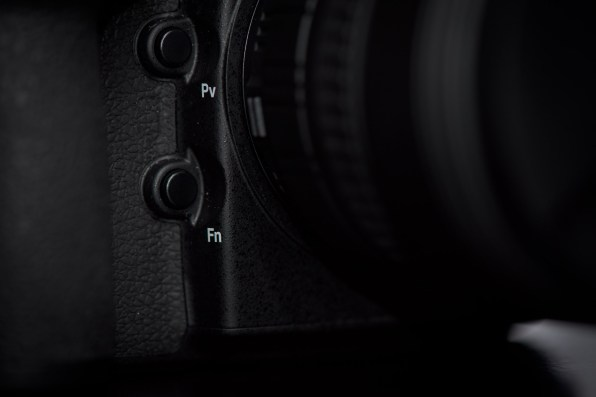 The Fn and Pv buttons between the lens and the grip of the D810