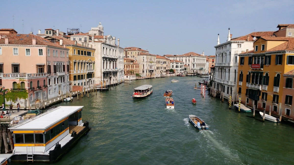 View down the Grand Canal in Venice Italy